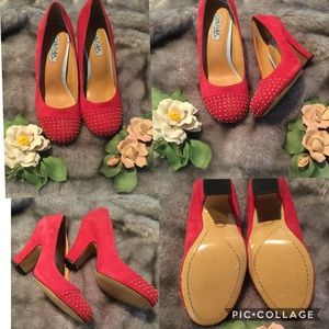 Cynthia Rowley Red Gold Studded Suede Heels